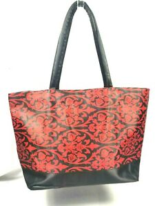 Women-039-s-Hand-Bag-Bovano-Totes-Floral-Red-And-Black-Design