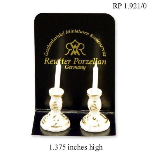 Porcelain Candlesticks 2pc Reutter Porcelain DOLLHOUSE MINIATURES 1:12 SCALE