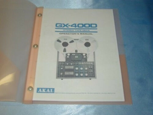 AKAI GX-400D  REELTO REEL TAPE DECK  OPERATOR/'S MANUAL
