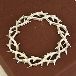 Corona Di Spine bagnata Argento Ottone 5 cm passione ihs Gesu Cristo Ecce Homo