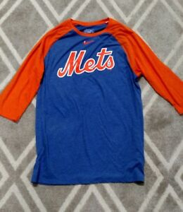 289e73f0 Men's Nike New York Mets Royal Blue Three-Quarter 3/4 Sleeve Raglan ...