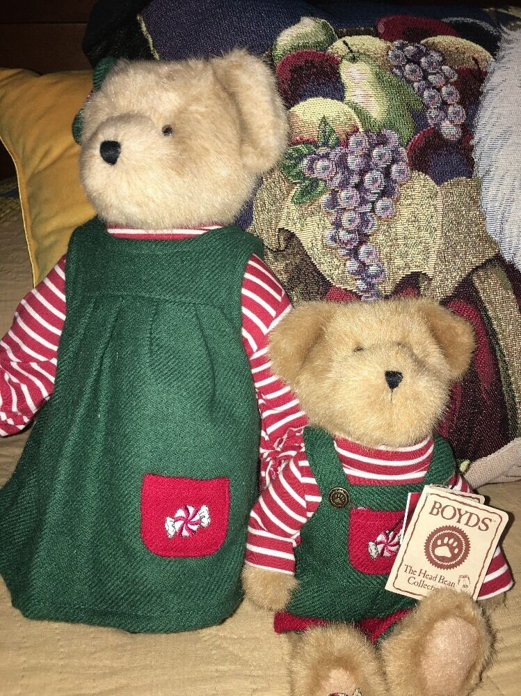 BOYDS SPEARA MINTLY 14  TALL  & JR. MINTLY 11  PEPPERMINT CANDY CHRISTMAS BEARS