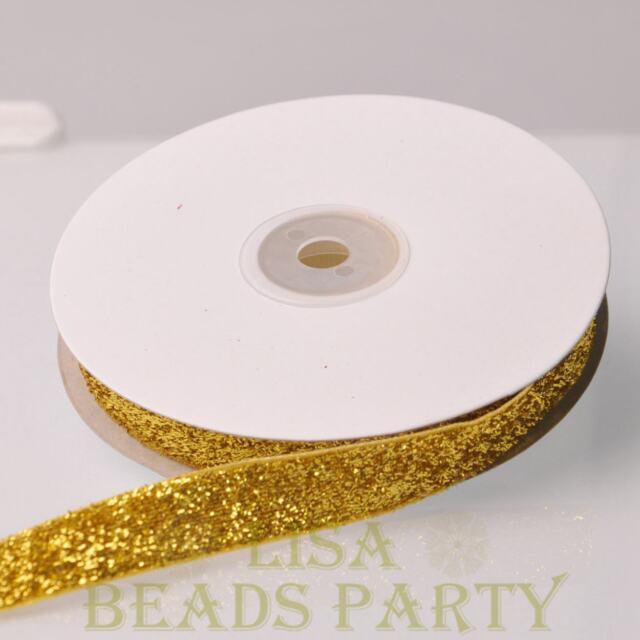"10 Yards 5/8"" 16mm Sparkle Glitter Velvet Ribbon Sewing Wedding Gold Yellow"