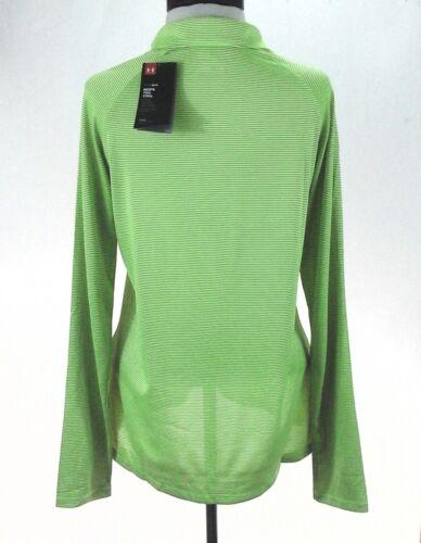 UNDER ARMOUR Tech 1//4 Zip Pullover Heatgear Neon Yellow Gray Stripe 1276211 $45