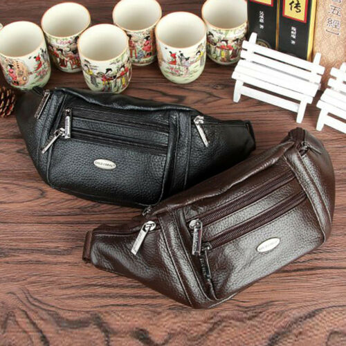 Genuine Leather Fanny Pack Travel Climb Men Belt Pouch Purse Hip Bum Waist Bag