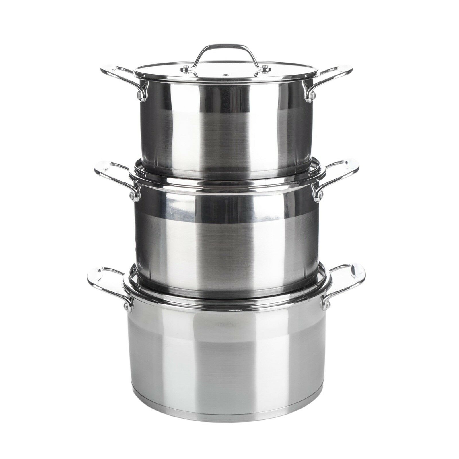 Original Royal Cuisine Pot en acier inoxydable Set 3 Pc 24,26,28cm induction prêt