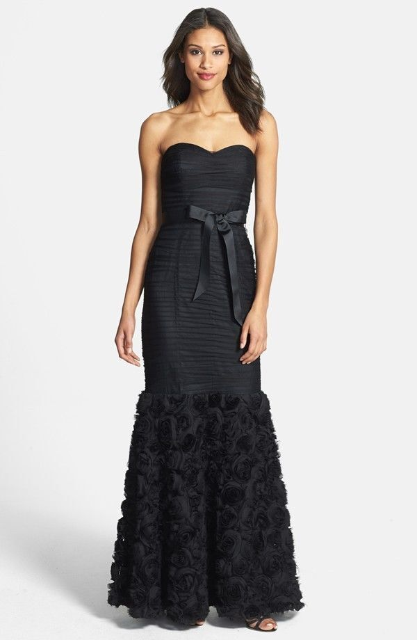 JS Collections 1297 Womens Black Rosette Prom Formal Dress Gown 10 ...