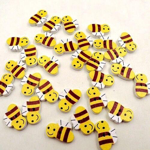 "20 x 13mm 1039 Craft Scrapbook BEE 2-hole Wood Buttons 13//16/"" x 1//2/"""