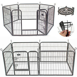 Heavy-Duty-6-Panel-Puppy-Dog-Pet-Playpen-Run-Enclosure-Whelping-Pen-Metal-Cage