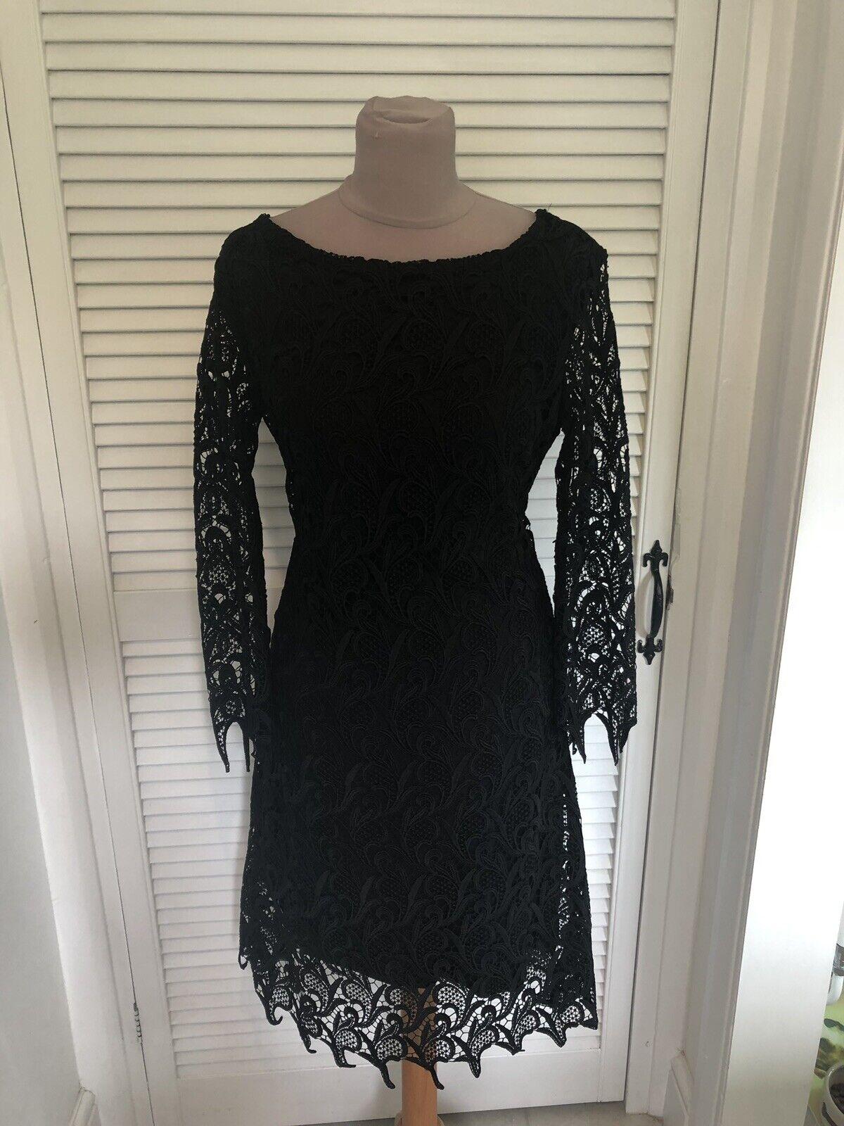 Zara Negro Vestido Tejido Crochet Telaraña Con Etiqueta De