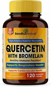 Quercetin with Bromelain 120 Ct - Support Cardiovascular & Respiratory Health