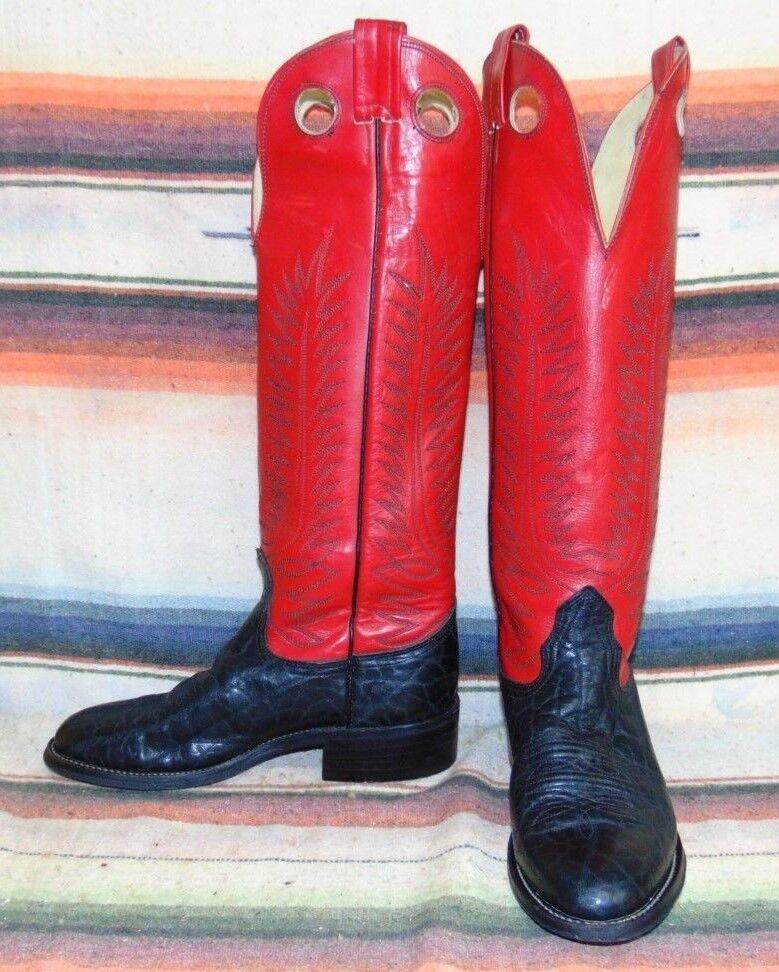 Vintage Nocona Negro Bullhide botas de vaquero para hombre 5 D Mujer 6.5 M Muy Buenas Cond