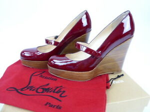 wholesale dealer 7158d 66fa9 Details about Christian Louboutin Wallis Zeppa 110 Burgundy Patent Wedges  Heels 38.5 UK 5.5