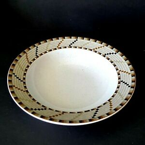 Studio-Nova-Bandelara-8-Cereal-Dessert-Bowls-Brown-Basket-Rim-Southwest-Tribal