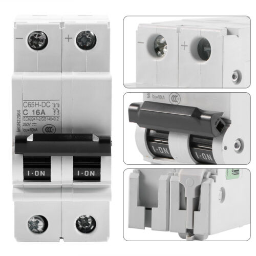 16A//32A//63A Circuit Breaker C65H-DC 2P 250V DC PV Solar Energy Air Switch Amps