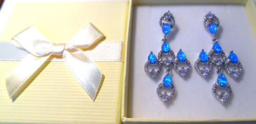 Details about  /GORGEOUS BLUE  FIRE OPAL//WHITE TOPAZ  STUD EARRINGS