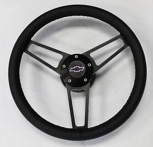 14-3-4-Black-Leather-on-Black-Billet-Steering-Wheel-Caprice-Nova-Impala-Camaro