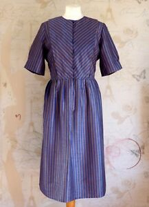 Vintage-1950-039-s-60-039-s-Retro-Rockabilly-Navy-Gold-Striped-Cocktail-Evening-Dress-12