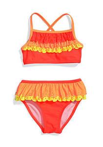 699165b574 NWT  32 Girl Flapdoodles 2PC Orange Yellow Eyelet Ruffle Bikini ...