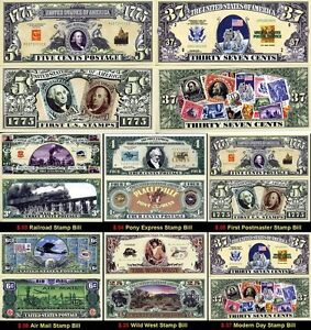 LOT X6 BILLETS DOLLARS repro TIMBRES/PHILATELIE - Collection Histoire POSTE USA