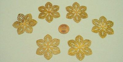 Raw Brass 6 Petal Filigree Jewelry Stampings 1/2 dozen - Nice for Wrapping