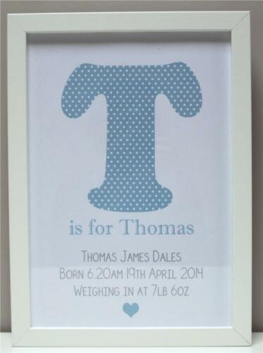 Personalised New Baby Gift Present Boy Girl Christening Newborn Print or Frame C