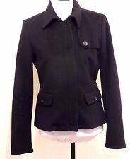 J CREW Navy Blue Wool Modern Pea Coat 8 Fitted Short Crop Jacket Cotton Lined