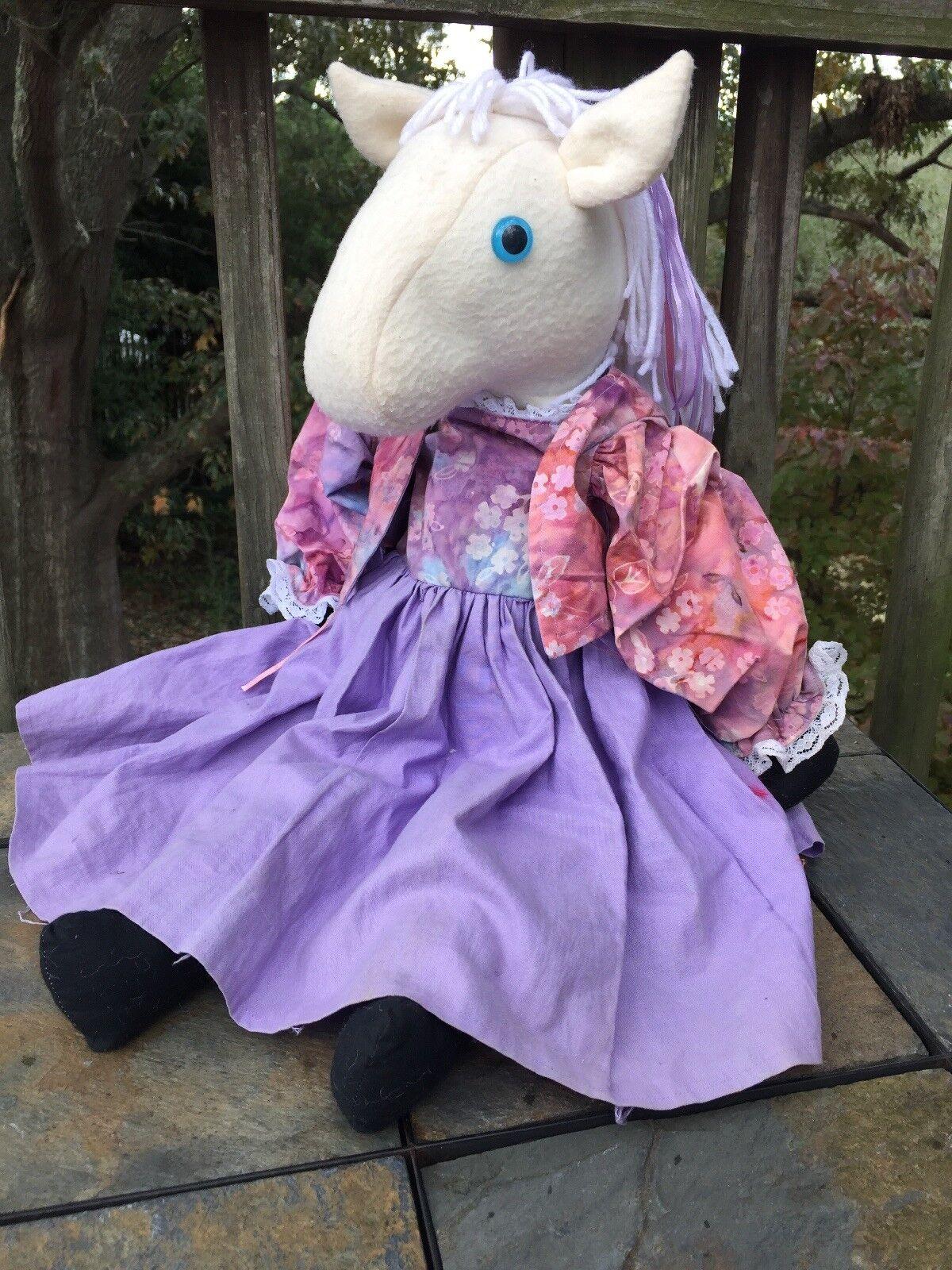 Vintage 13   Antico Primitive Cavallo Bianco Unicorno Prairie Abito Bambola