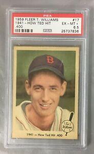 TED 1959 FLEER 17 HIT 400 WILLIAMS RED SOX 1941 BASEBALL BOSTON HOF PSA 6.5