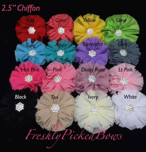 """5pc Chiffon flower 2.5"""" with rhinestone center YOU CHOOSE COLORS"""