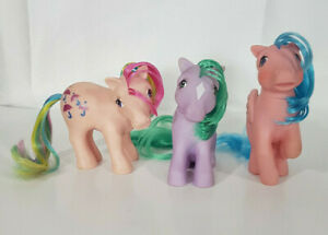 Vintage-1980s-Hasbro-G1-My-Little-Pony-Lot-of-3-Seashell-Parasol-Firefly-TLC