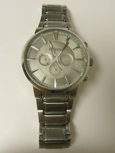 Fossil Men S Fs4359 Silver Chronograph Large Silver Dial Watch Preown 796483130623 Ebay