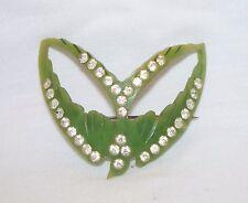 RARE Vintage Catalin Bakelite Celluloid Rhinestones Green Bird Brooch