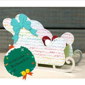 Stanzschablone-3D-Schlitt-Weihnachten-Hochzeit-Geburtstag-Karte-Deko-Geschenk