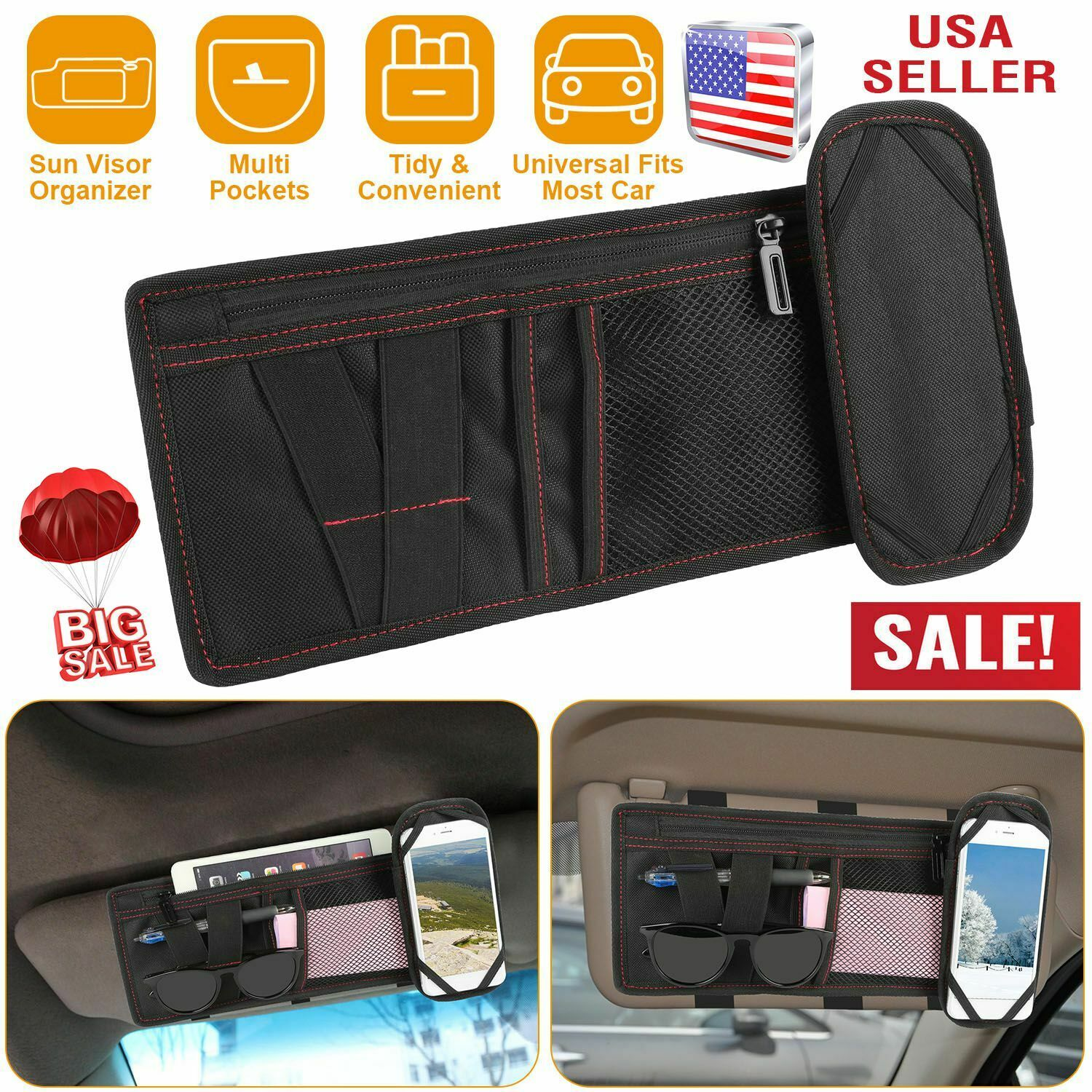 SUV BicycleStore Sun Visor Organizer for Cars Hanger Clips Glasses Holders Pouch Organizer Auto Interior Accessories Personal Belonging Storage for Car Jeep Visors Truck Sunglass Holder for Car