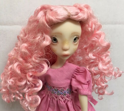 WIG SIZE 3-4 Mini Mod Fairy Wig Pink  Long Curly Center Part   MINT IN PACK