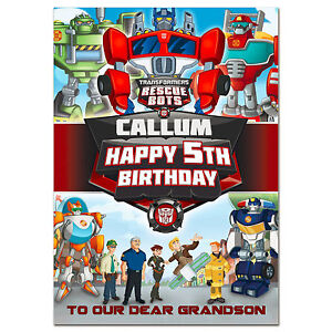 Image Is Loading G397 Large A5 Personalised Birthday Card Transformers  Rescue