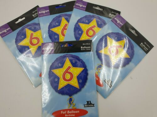 """5 Pack 18/"""" Round Happy 6th Birthday Foil Helium Party Balloon job lot blue"""