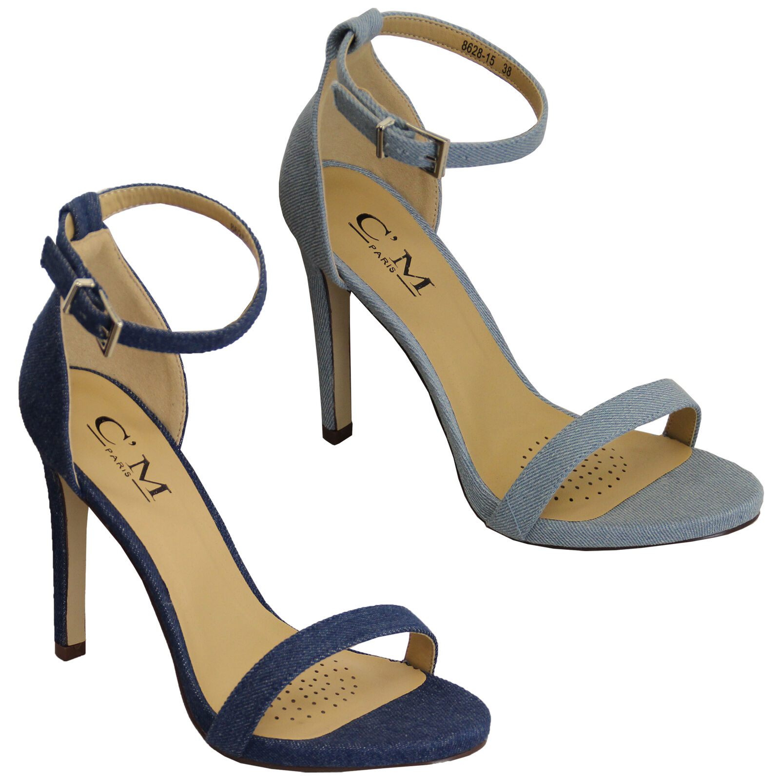 Ladies Denim Sandals Womens Ankle Strap Stiletto Heel Buckle Open Toe Shoes New