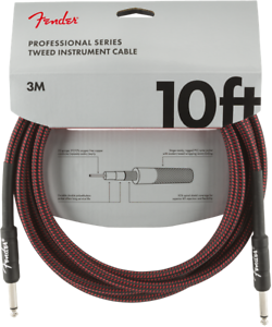 Genuine-Fender-Professional-Series-Guitar-Instrument-Cable-RED-TWEED-10-039-ft