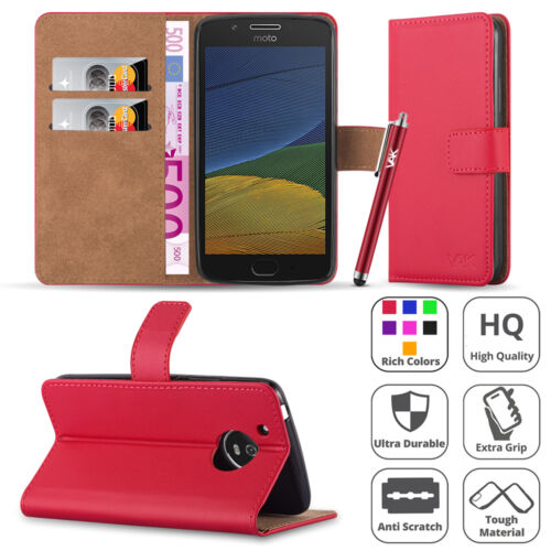 1 of 1 - Wallet Flip Book Leather Case Cover For Various Motorola Moto Mobile Phones