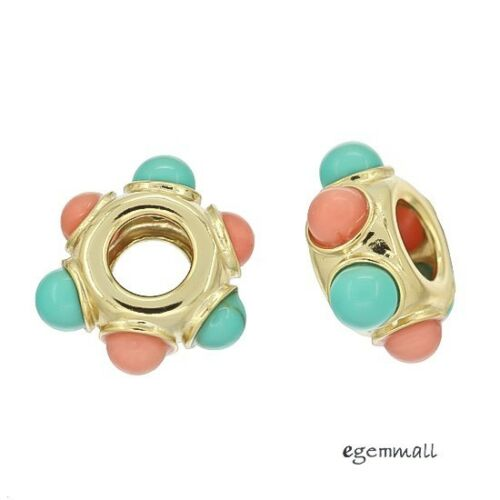 1PC 18kt Gold Plated Sterling Silver Turquoise Coral European Charm Bead #94269