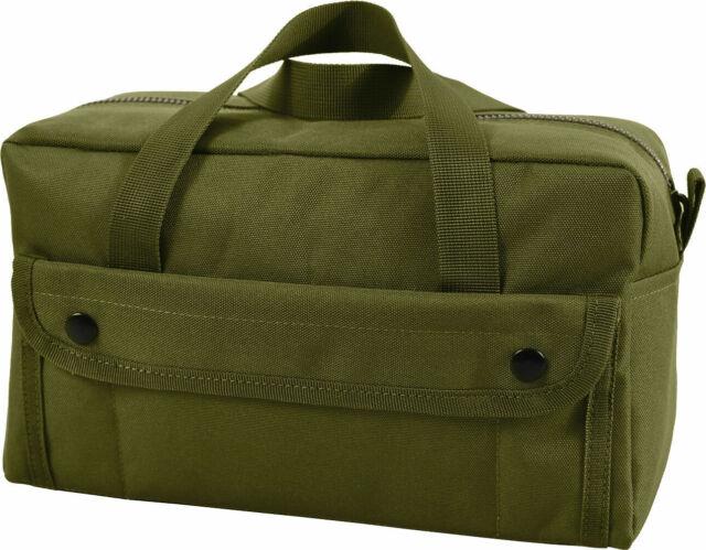 Olive Drab Mechanics Heavy Duty Poly Standard Tool Bag with Brass Zipper