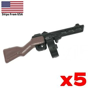 LEGO-Guns-PPSh-41-Soviet-Painted-SMG-Lot-of-5-WWII-Army-Military-Weapon