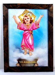 Painting-print-glassed-Divino-Nino-Jesus-Mexico-folk-art-wood-framed-17-034-X13-034-Lg