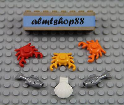 LEGO 6 pcs Fish Lot Silver Orange Blue Seafood Food Kitchen Minifigure Town