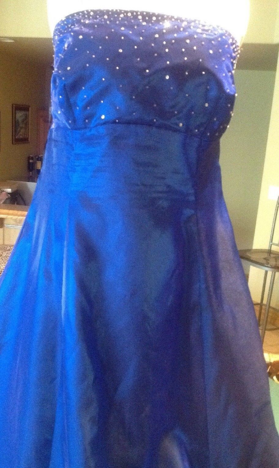 A line, Sapphire Ladies Plus Size 16w full length silver Beaded Evening Gown