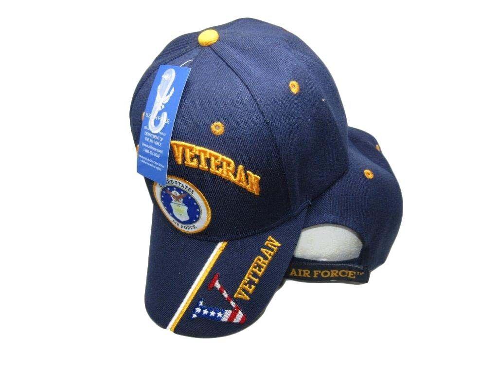 U.S. Air Force Veteran  V  Navy Blue Vet 593B Emblem Embroidered Cap Hat 593B Vet 611d89