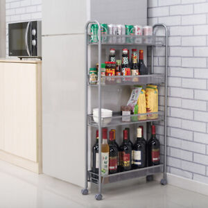 Details about 4 Tier Slide Out Storage Kitchen Cart Trolley Shelf Narrow  Place Shelving Rack