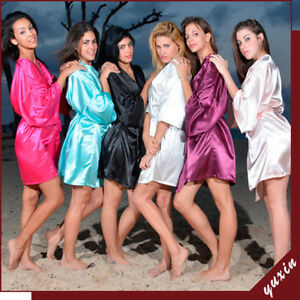 HOT-SHORT-BRIDAL-ROBE-WEDDING-PARTY-BRIDE-TO-BE-BRIDESMAID-SILK-DRESSING-GOWN